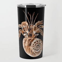 Fish coastal nautical in black background Travel Mug