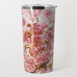 Beautiful Bundles Of Pink Cherry Blossoms In Full Bloom Japanese Sensibility Travel Mug