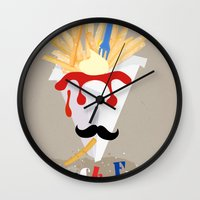 french fries Wall Clocks featuring French Fries by Elisandra