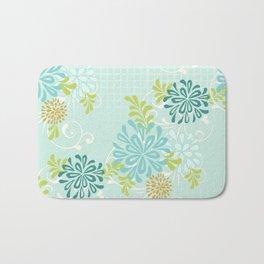 Bold Graphic Mod Mum Modern Chrysanthemum Floral Flower Aqua Blue Bath Mat