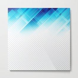 Blue geometric technological background Metal Print