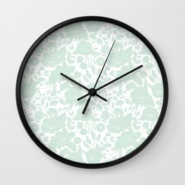 Vintage elegant pastel green white stylish floral Wall Clock
