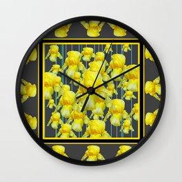 MULTITUDE OF YELLOW IRIS IN GREY PATTERN ART Wall Clock
