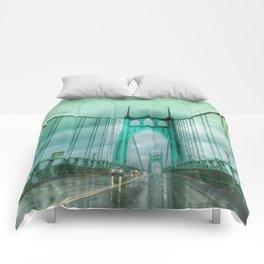 St John's Bridge Portland Oregon Comforters