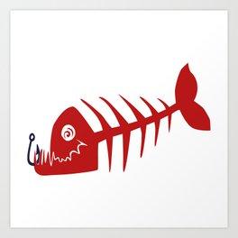 Pirate Bad Fish red- pezcado Art Print