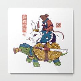 Kame, Usagi, and Ratto Ninjas White Metal Print
