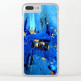 Blue, Black and White Clear iPhone Case
