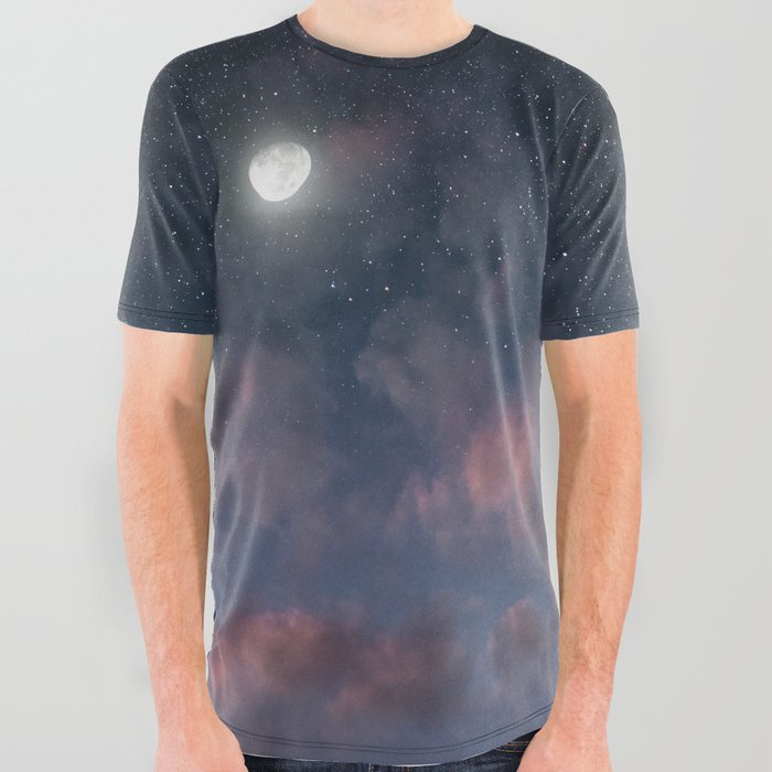 24ed1cb83b19 Glowing Moon on the night sky through pink clouds All Over Graphic Tee
