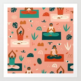 Yoga girls Art Print