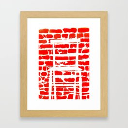 White Chair Red Brick Wall Framed Art Print