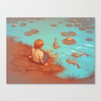 koi fish Canvas Prints featuring Koi Fish by yinza