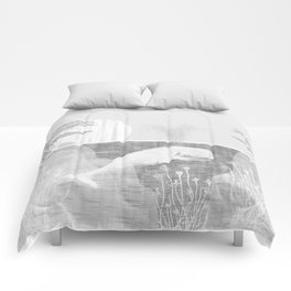 Tropical Black and White Vintage Whale Design Comforters