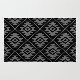 Aztec Symbol Pattern Gray on Black Rug