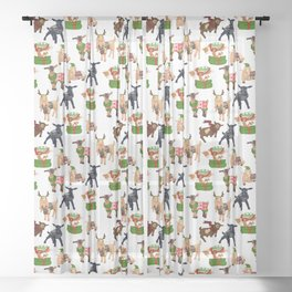 Christmas goats in sweaters repeating seamless pattern Sheer Curtain