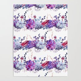 Pastel pink lavender blue watercolor succulents cactus floral Poster