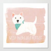 westie Canvas Prints featuring Westie by 52 Dogs