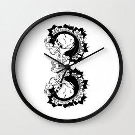 skulls and smoke toke Wall Clock