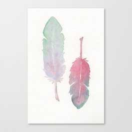 Feather Study in Watercolor Canvas Print