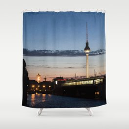 Berlin at night Shower Curtain