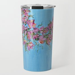 Cherry Blossoms, Pink Flower Wall Art Prints, Impressionism Travel Mug