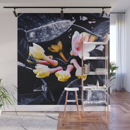 black and white leaves pink yellow white flowers jasmine Wall Mural