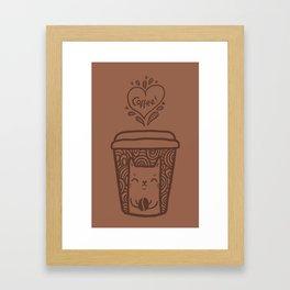Doodle coffee cat Framed Art Print