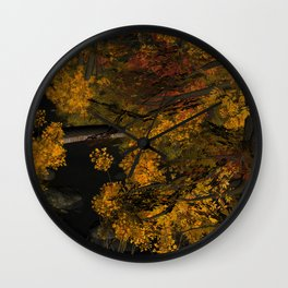 Autumn Leaves and Stream Wall Clock