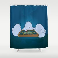 ouija Shower Curtains featuring Ouija Board by mangulica illustrations