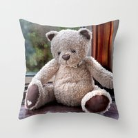 teddy bear Throw Pillows featuring Teddy Bear  by Fran Walding
