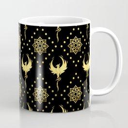 Gold Phoenix and lotus symbol pattern on black Coffee Mug