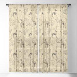 GREYHOUND & WHIPPET MONOCHOROME Sheer Curtain