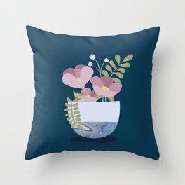 Flowers in Marbleised Vase 1# Throw Pillow