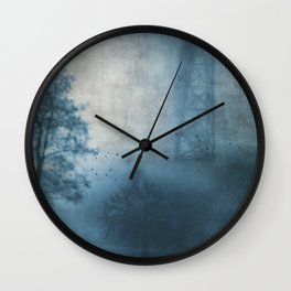 bridge in fog Wall Clock