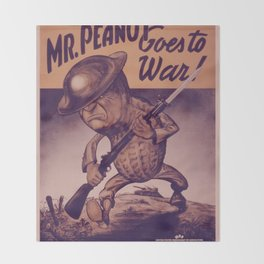 Vintage poster - Mr. Peanut Goes to War Throw Blanket