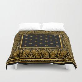 Classic Black and Gold Bandana Duvet Cover