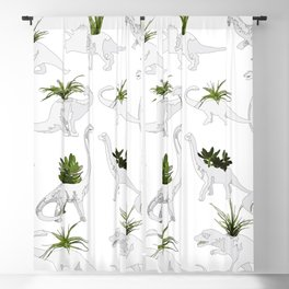 Dino and Cacti on White Blackout Curtain