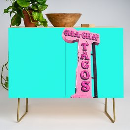 Cha-Cha's Tacos Retro Vintage Pink Sign Credenza