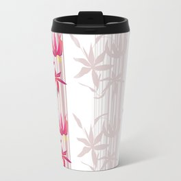 Red lilies on a white striped background . Travel Mug