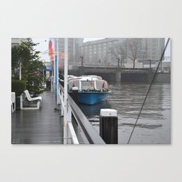 Blue Boat on the Canal - M Canvas Print