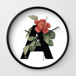 Floral Alphabet Prints: Letter A Wall Clock