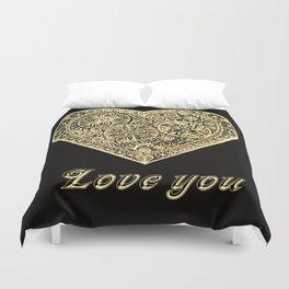 golden heart I love you Duvet Cover
