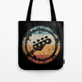 Vintage Bass Guitar Headstock for Bassist and Bass Player Tote Bag