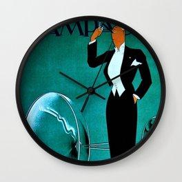 Vintage Champagne Veuve A. Devaux, Paris, France Jazz Age Roaring Twenties Advertisement Poster Wall Clock