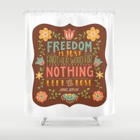 freedom Shower Curtains featuring Freedom by Lydia Kuekes