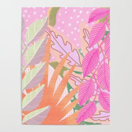 Modern Jungle Plants - Pink Green Purple Poster