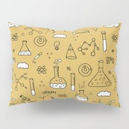 Back to school science physics math class student laboratorium ochre yellow Pillow Sham
