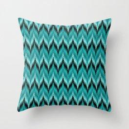 Turquoise and Black Bargello Pattern Throw Pillow
