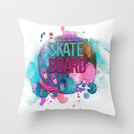 Skate Board Throw Pillow