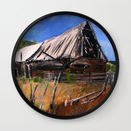 Old Barn New Mexico Desert Contemporary Acrylic Painting Wall Clock