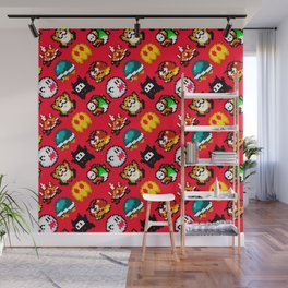 Super Mario World | Enemies Pattern | Red Wall Mural